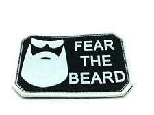 Fear The Beard Black Airsoft PVC Patch