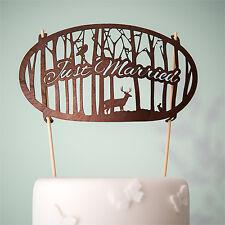 Just Married Woodland Wood Veneer Wedding Cake Topper