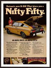 1977 DATSUN B-210 Plus Vintage Original Print AD Yellow car photo woman dog USA