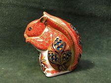 ROYAL CROWN DERBY Bone China Squirrel Figurine Paperweight-Gold Button