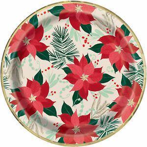 8 Red & Gold Poinsettia Traditional Christmas Paper Plates 23cm Gold Foil Finish