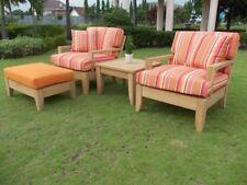 Atnas 4pc A-Grade Teak Wood Deep Seater Sofa Lounge Chair Set Outdoor Patio New