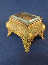 Antique Filigree Bombe Trinket / Jewelry / Dresser Box - Bevel Glass Silk Lined