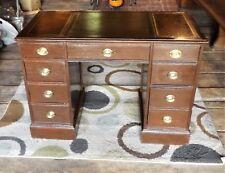 Vintage Leather Top Knee Hole Office Desk