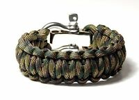 Premium Paracord Survival Bracelet Recon Camo With S/S Shackle USA Hand Made USA