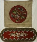 TWO LATE 19TH CENTURY FLORAL BEAD WORKS - ONE A SMALL TABLE RUNNER - c.1870