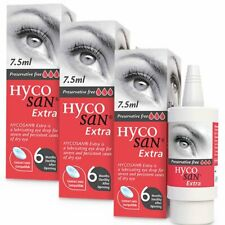 3 x Hycosan Extra Lubricating Eye Drops 7.5ml Preservative Free For Dry Eyes