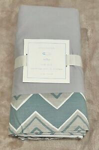 Pottery Barn Kids Baby Crib Skirt SOHO Blue/Green Chevron GRAY NEW