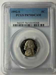 1992-S Jefferson Nickel PCGS PR70DCAM