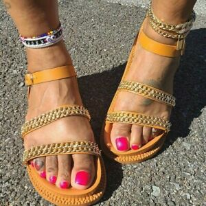 Womens Metal Chain Wedge Platform Flats Strappy Sandals Buckle Roman Beach Shoes