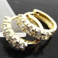 FSA009 GENUINE 18K YELLOW GOLD G/F SOLID DIAMOND SIMULATED HUGGIE HOOP EARRINGS