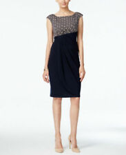Connected Printed Draped Sheath Dress size6