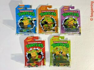 Hot Wheels Turtles Nickelodeon Complete Collection Full Set of 5 NEW & SEALED
