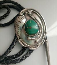 Large Vintage Navajo Cowboy Sterling Gemstone Green Turquoise Bolo Tie