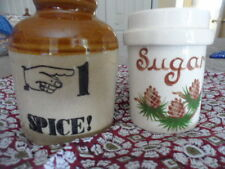 Lot of (2) RARE COLLECTIBLE VINTAGE ENGLISH CROCK S/SUGAR SERVER