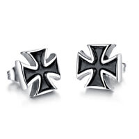 Simple Black Oil Latin Cross Silver Surgical Stainless Steel Stud Earrings Gift