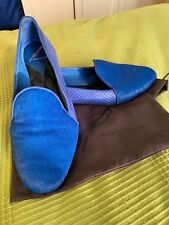 2f8526e5a46 Brian Atwood Womens Sz 8.5 Cobalt Blue Leather Slip-On Loafer Pony Hair  Snake