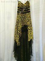 Cassandra Stone Mac Duggal Formal Dress Flash Animal Print Hi-Lo Size 2 NWT