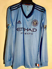 Adidas Authentic MLS Long Sleeve Team Jersey New York City FC Light Blue sz L