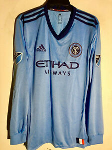 Adidas Authentic MLS Long Sleeve Team Jersey New York City FC Light Blue sz XL