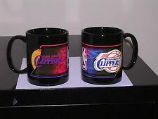LOS ANGELES CLIPPERS 2  BLACK COFFEE MUGS  11 OZ.