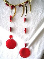 Red Beaded Brass Wire Wrapped Handmade Wind Chime with Capiz Shells