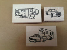 Mounted Rubber Stamps Lot, RV Stamps, Camping, 5th Wheel Camper & Truck, Campers