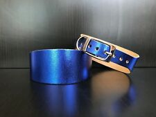 Small-medium Leather Whippet Dog Collar Greyhound BLUE METALLIC
