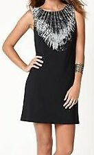 NINE WEST MS SIZE 8 BLACK COMBO FEATHER INSPIRED PRINTED SLEEVELESS SHIFT DRESS
