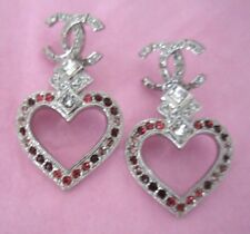 CHANEL HEART CRYSTALS CC EARRINGS NEW 2016 AUTHENTIC