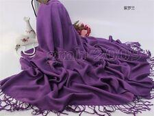 Women's 100% Cashmere Pashmina purple Solid Tassel Shawl Wrap Scarf Scarves