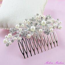 Pearl & Rhinestone Bridal Hair Comb Hair Accessory 120mm