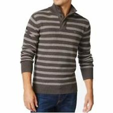 Tommy Hilfiger Ash Heather Gray Mens XL Stripe Knit Polo Sweater #261