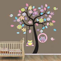 New USA Beautiful Tree with Hanging Owls Pink Flowers Wall Sticker Decal
