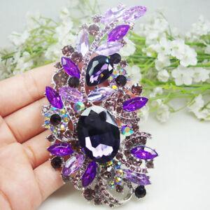 "4.5"" Vintage Purple Flower Rattan Woman's Brooch Pin Rhinestone Crystal"