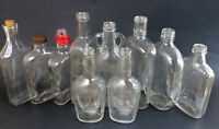 10 Assorted Vintage Clear Glass Whiskey Flask Flat Bottles Lot Whitmer's Quaker