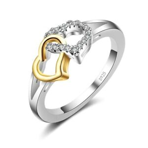Sterling Silver Heart with Heart Ring with Cubic Zirconia Hallmarked S925