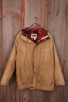Woolrich Brown Men's Vintage Work Coat Jacket Large L Lined Hood