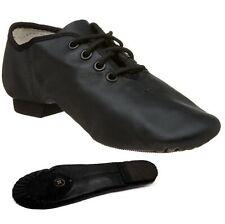 Jazz Dance Modern Stage Leather Shoes Split Sole Black