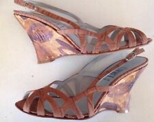Cynthia Rowley Geist NYC Brown Perforated Leather Slingback  Wedge Heels 8.5
