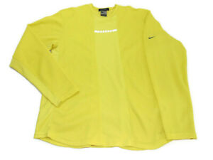 Nike Sphere Yellow Waffle Knit Long Sleeve Crew Neck Reflective Running Mens L
