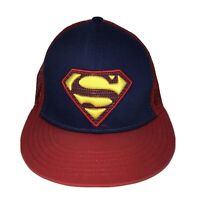 Superman Blue/Red Snapback Half Mesh Baseball Cap Hat DC Comics Flat Bill