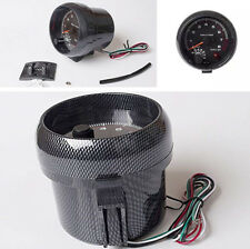 "3.75"" LED Backlight Carbon Fiber Look Tachometer RPM Gauge with Red Shift Light"