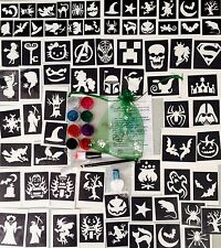 GLITTER TATTOO KIT HALLOWEEN Boys Girls 158 stencils PRINCESS SUPERHERO PIRATE +