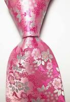 New Classic Floral Pink White JACQUARD WOVEN 100% Silk Men's Tie Necktie