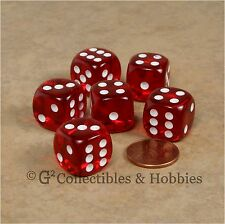 NEW 6 Transparent Red ROUNDED EDGE Dice Set RPG D&D Bunco Game D6 16mm 5/8 inch