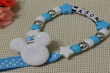 Personalised Blue Mickey like Dummy Clip/Chain dummy strap for reborn dolls