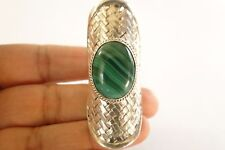 Green Malachite Solitaire Bold Woven Statement 925 Sterling Silver Ring Size 7