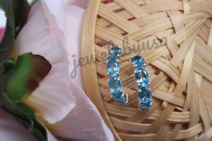 Women's 2Ct Oval Aquamarine Sim Diamond Fancy Hoop Earring 14K White Gold Plated