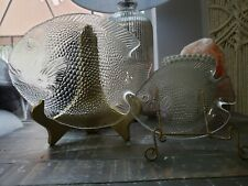 Vintage Arcoroc France Fish Platter and Small Plate, Clear and Beautiful! 1970s